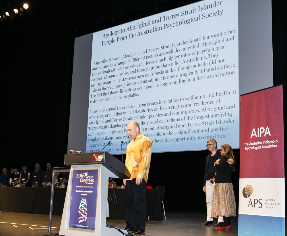 CRH Director, Professor Tim Carey delivers Australian Psychological Society's apology to Indigenous Australians. Photo courtesy of the Australian Psychological Society