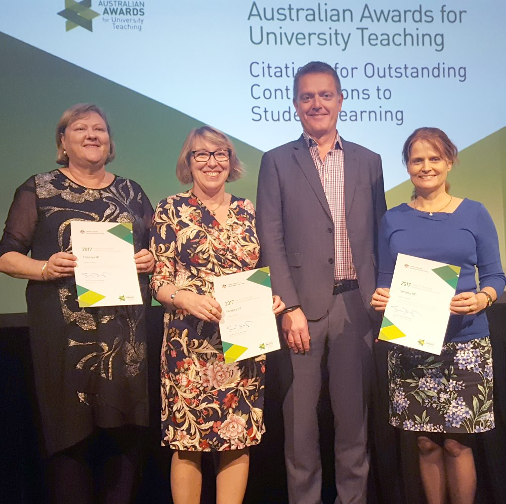 Associate Professor Sue Lenthall, Dr Helen Wozniak and Associate Professor Narelle Campbell with Flinders Vice-Chancellor Professor Colin Stirling at the award presentations.
