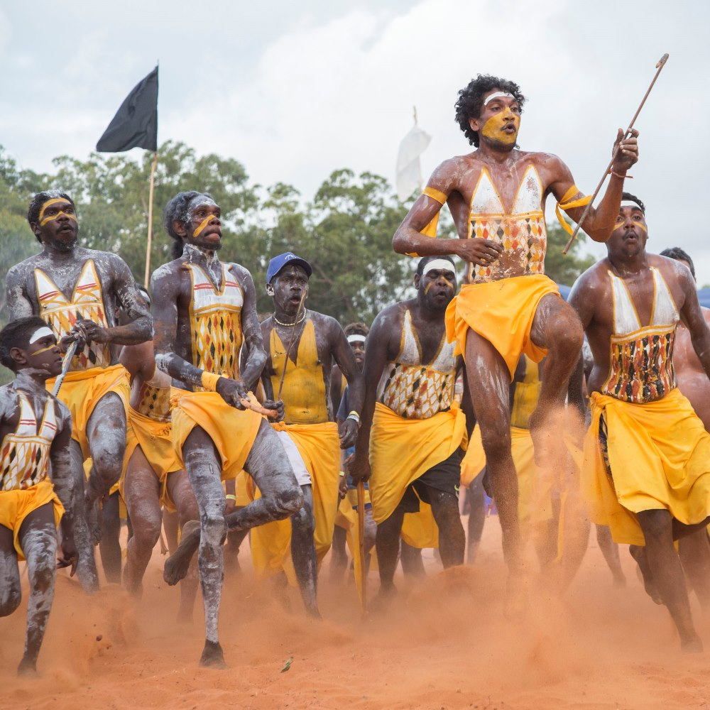 Photo courtesy Yothu Yindi Foundation: The Yolngu clans perform bunggul (ceremonial dances) at the 2017 Garma festival