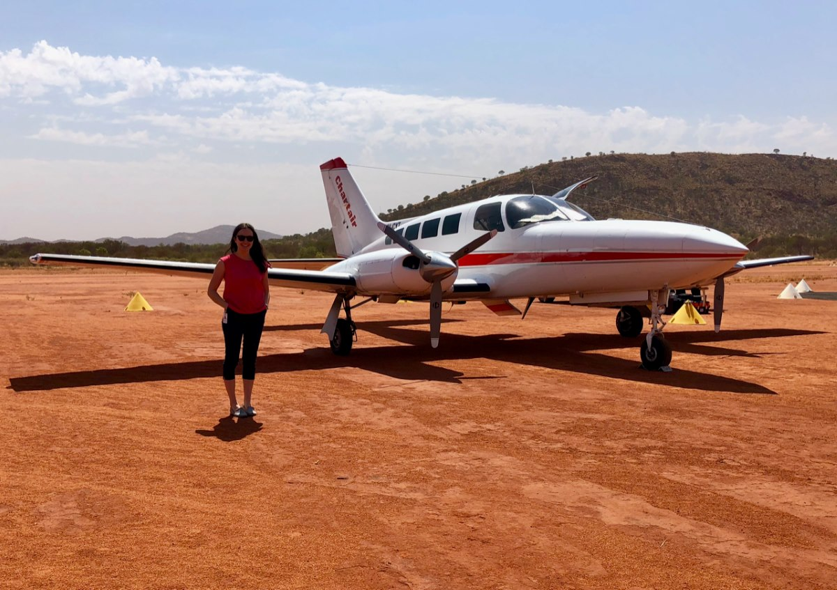 Georgie Oakman at the Laramba airstrip north-west of Alice Springs, during her medical placement in Central Australia