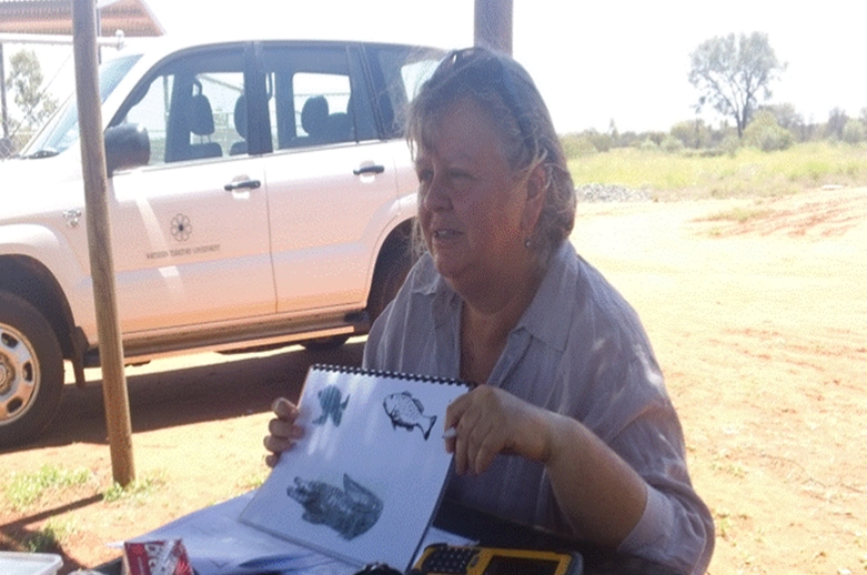 Heather Jensen assessing a client using the Kimberley Indigenous Cognitive Assessment (KICA) tool