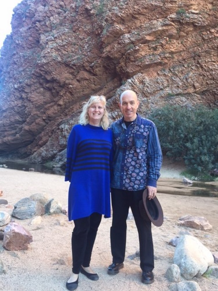 Dr Nancy Pachana and Professor Tim Carey visiting the sights around Alice Springs