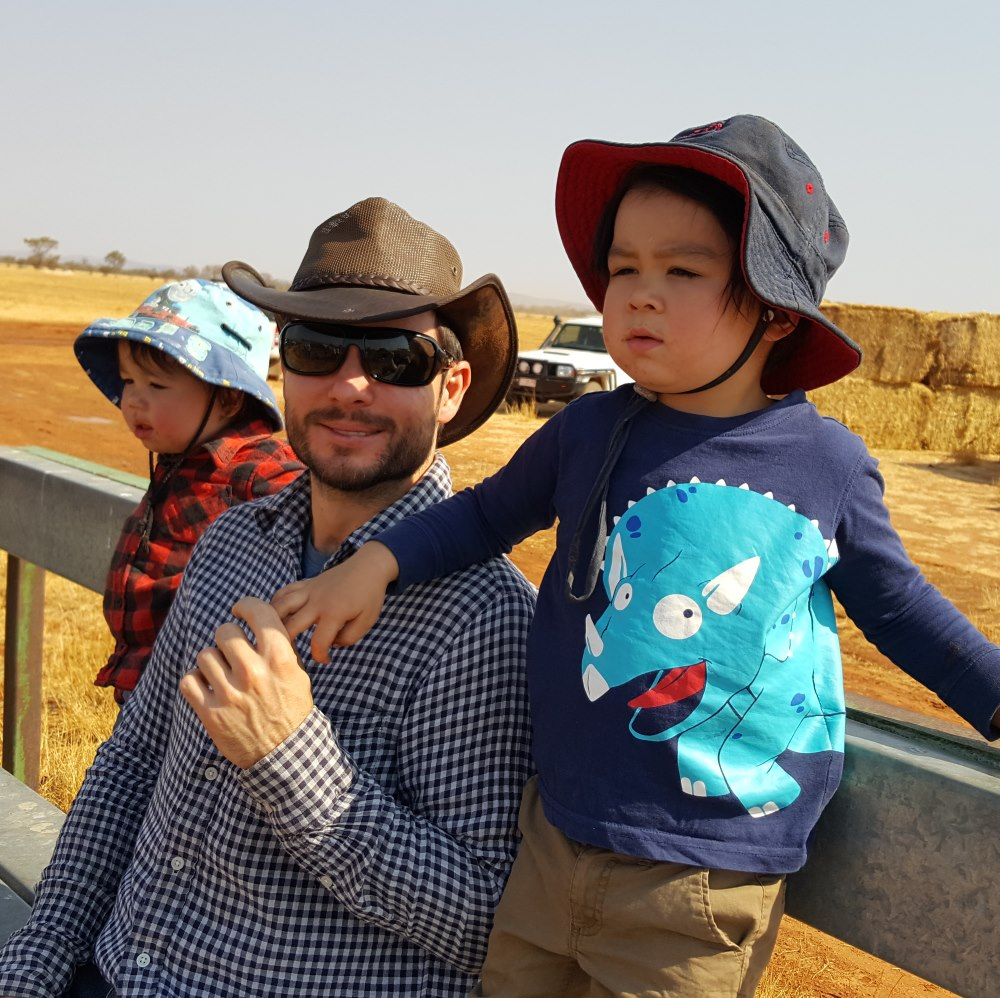 Flinders NT & Centre for Remote Health Pharmacy Academic, Tobias Speare with his sons Sebastian (left) and Rohan (right)
